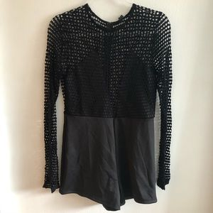 NWT WINDSOR See Through Black Romper Size Large